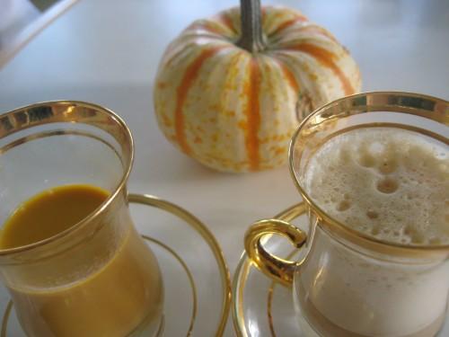 Starbucks Pumpkin Spice Latte on the left, homemade pumpkin latte on the right