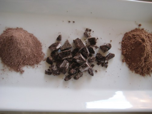 from left to right:  Swiss Miss powdered hot cocoa, chopped Abuelita cocoa tablet, Homemade hot cocoa mixture