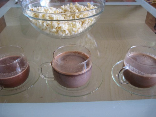 From left to right:  Swiss Miss, Nestle's Abueltia, and Homemade hot cocoas