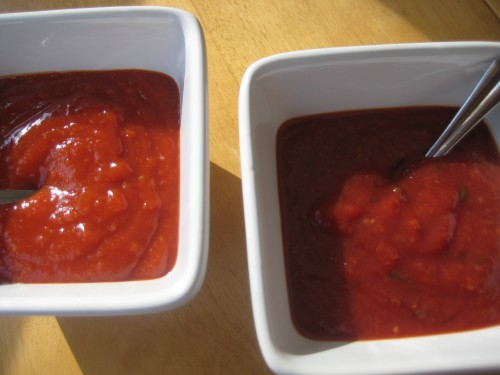 Jarred cocktail sauce on the left, homemade on the right