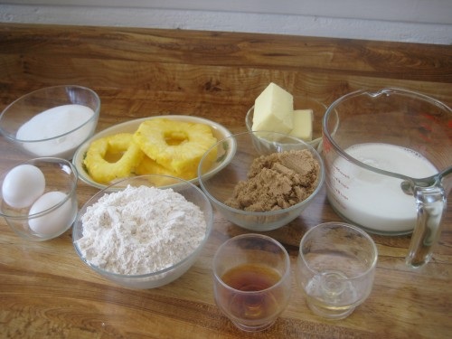 Ingredients measured out for Pineapple Upside-Down Cake