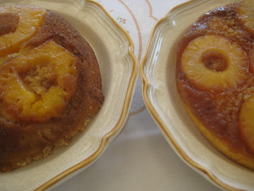 Homemade pineapple upside-down cake on the left, from a mix on the right