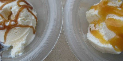 Homemade Butterscotch sauce on the left, Smucker's butterscotch syrup on the right