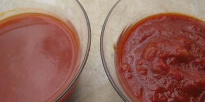 Old El Paso Enchilada sauce on the left, homemade on the right