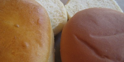 Homemade Hamburger Bun on the left, Sara Lee Bun on the right