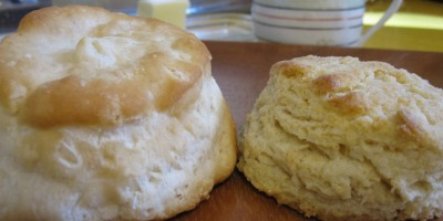 Pillsbury Biscuit on the left, homemade buttermilk biscuit on the right