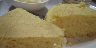 Homemade cornbread on the left, Marie Callender's cornbread on the right