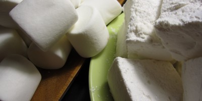 Jet-puffed marshmallows on the left, homemade on the right