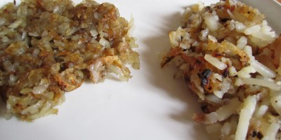 Homemade Hash Browns on the left, Ore Ida Frozen Hash Browns on the right