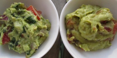Homemade Guacamole on the left, store bought on the right