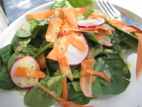 Salad drizzled with homemade dressing