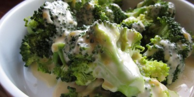 Steamed Broccoli with Basic Cheese sauce