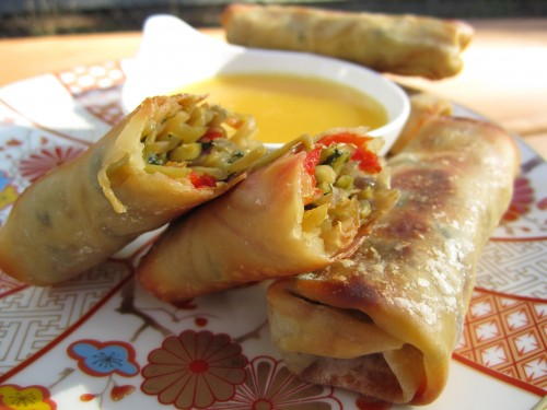 Baked Veggie Egg rolls with Orange Dipping Sauce