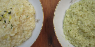 Homemade risotto on the left, risotto made from a mix on the right