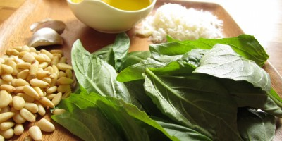 Ingredients for Fresh Basil pesto: basil, pine nuts, garlic, olive oil, parmesan