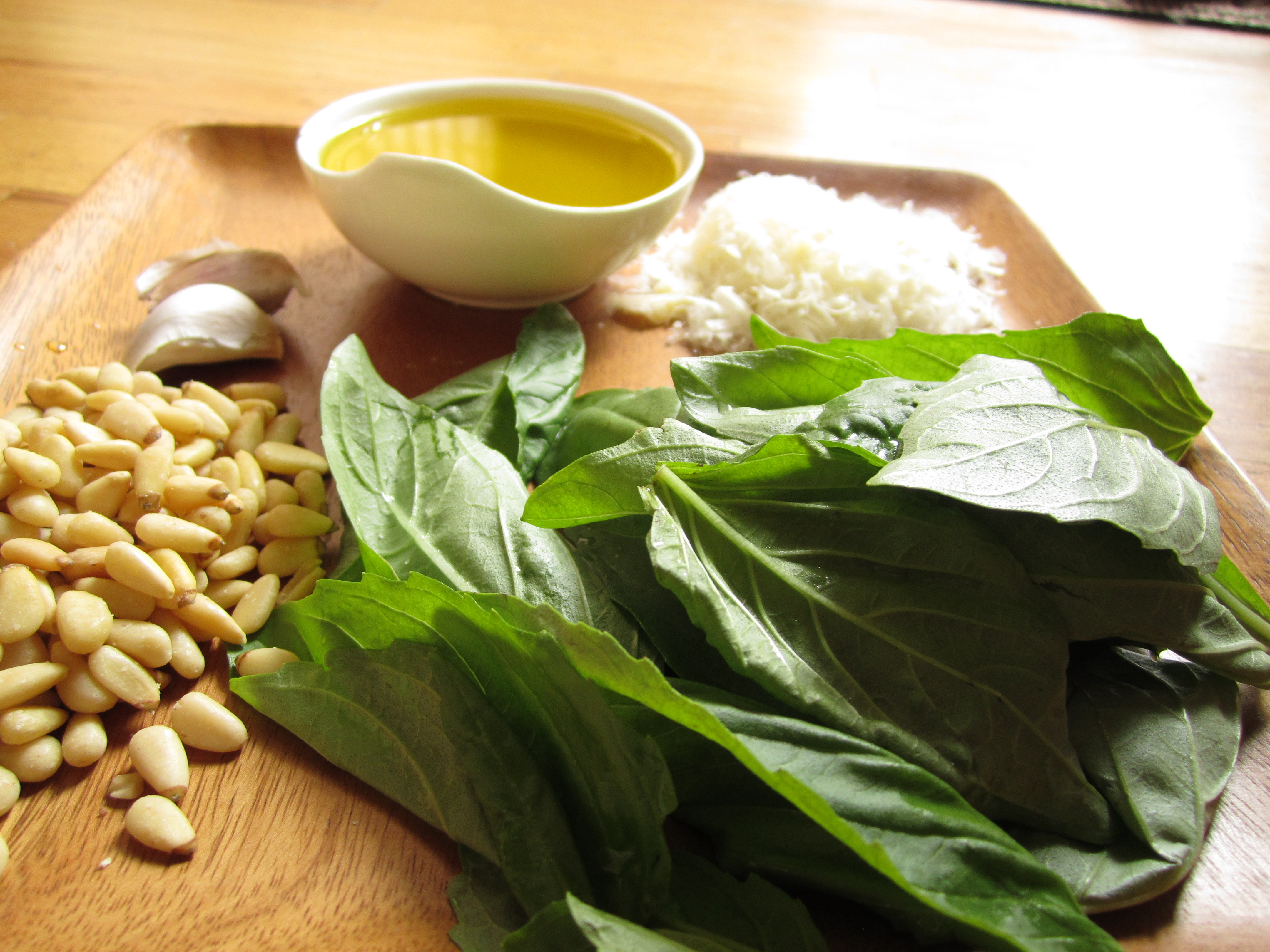 Ingredients for Fresh Basil pesto: basil, pine nuts, garlic, olive oil ...