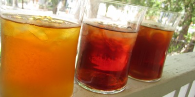 Three iced teas (from left to right): Homemade lemon iced tea, Lipton powdered  lemon iced tea mix, Snapple Lemon iced tea