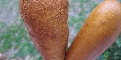 Homemade corn dog on the left, State Fair brand frozen corn dog on the right