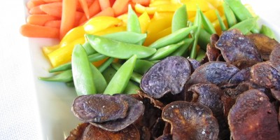 Rainbow Vegetable Platter: Purple potato chips, sugar snap peas, yellow bell pepper strips, baby carrots and cherry tomatoes