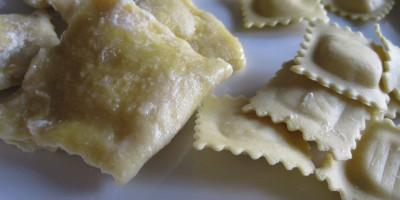 Homemade ravioli on the left, Buitoni Three-Cheese Ravioli on the right