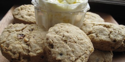 Hazelnut Oat Scones with Lemon Mascarpone Cream