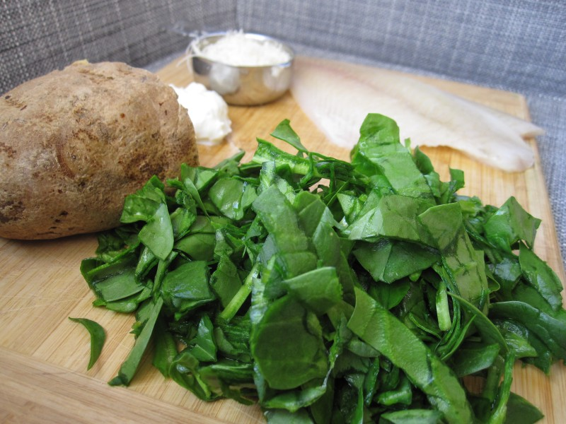 Ingredients for baby fishcakes: Spinach, tilapia, parmesan, greek yogurt and baked potato.