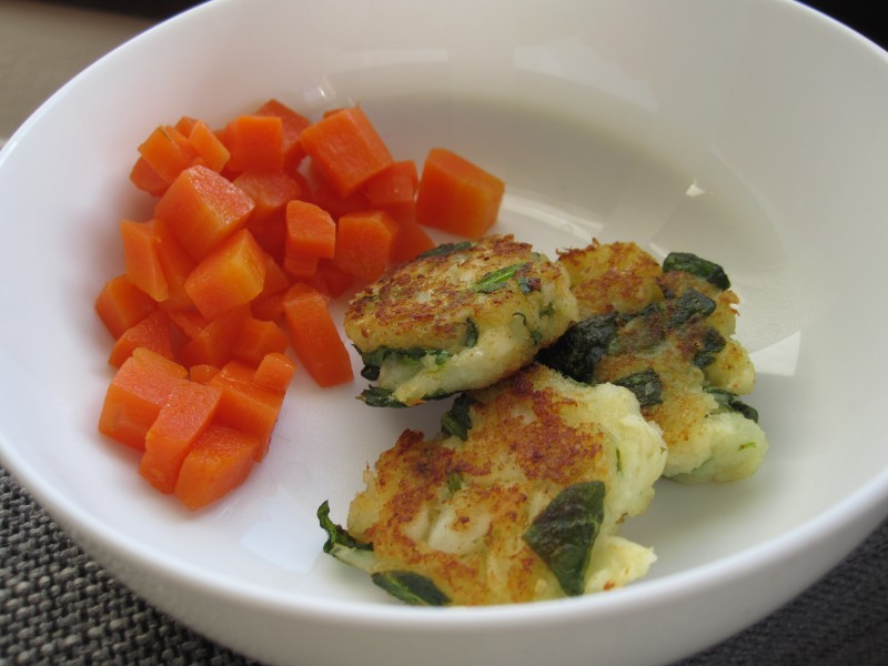Babycake fish cakes with steamed carrots
