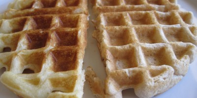 Homemade waffle on the left, waffle from a mix on the right