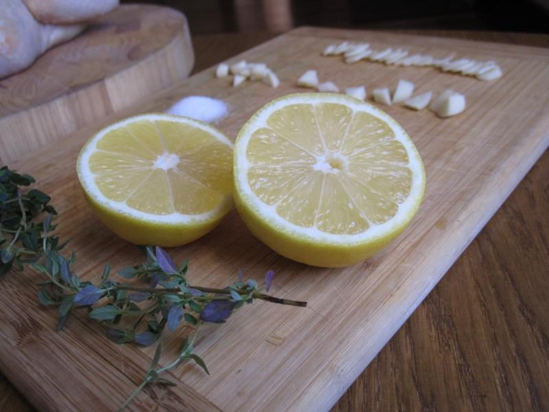 Ingredients for garlic butter roast chicken