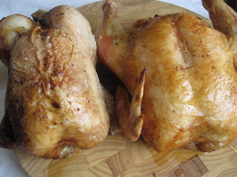 Store bought rotisserie chicken on the left, home roasted garlic butter chicken on the right