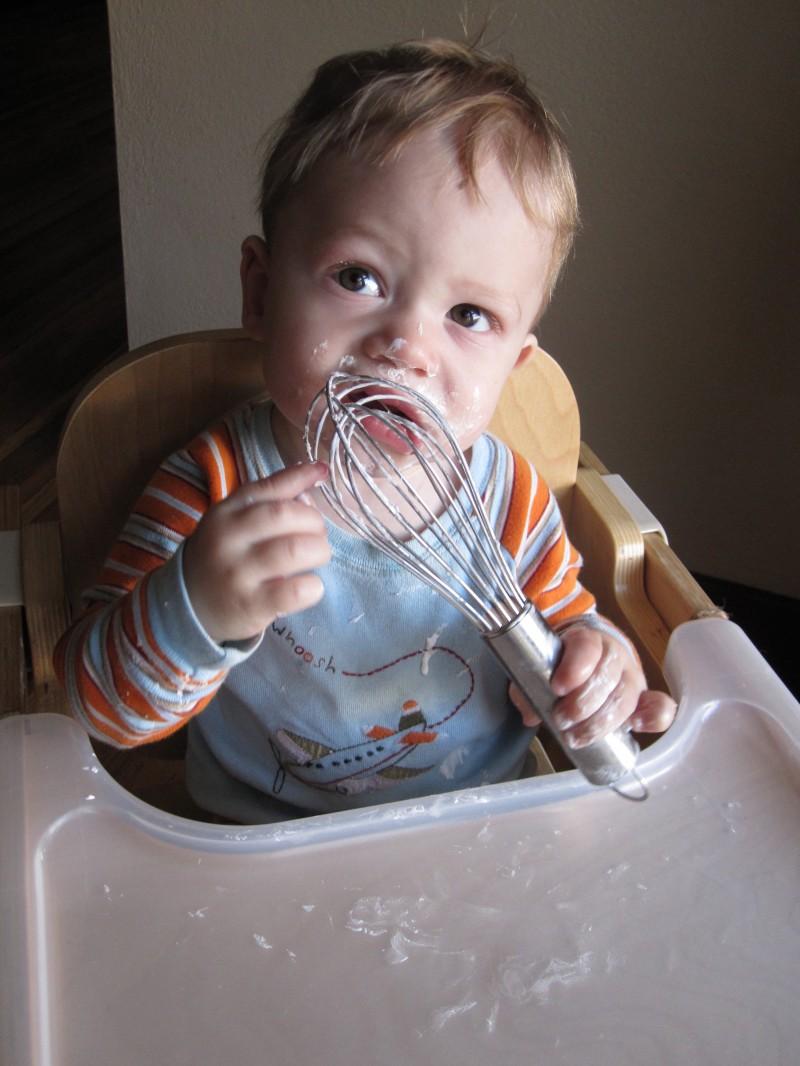 Baby Eating Birthday Frosting