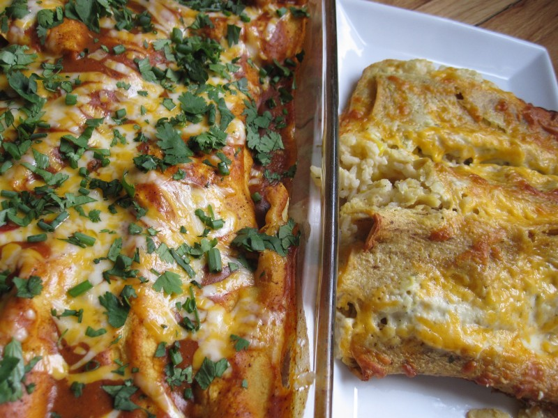 Homemade Chicken and Cheese Enchiladas on the left, Stouffer's Chicken Enchiladas on the left