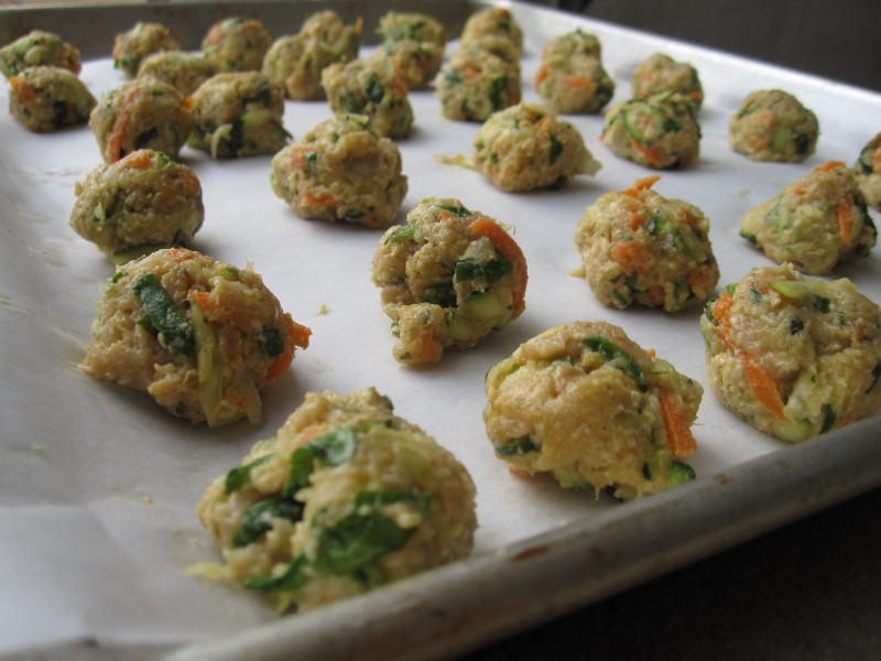 Chicken and Veggie Meatballs ready to be baked