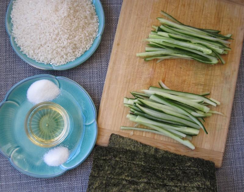 Ingredients for Cucumber Sushi