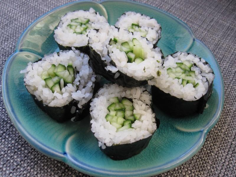 Cucumber Sushi sliced up