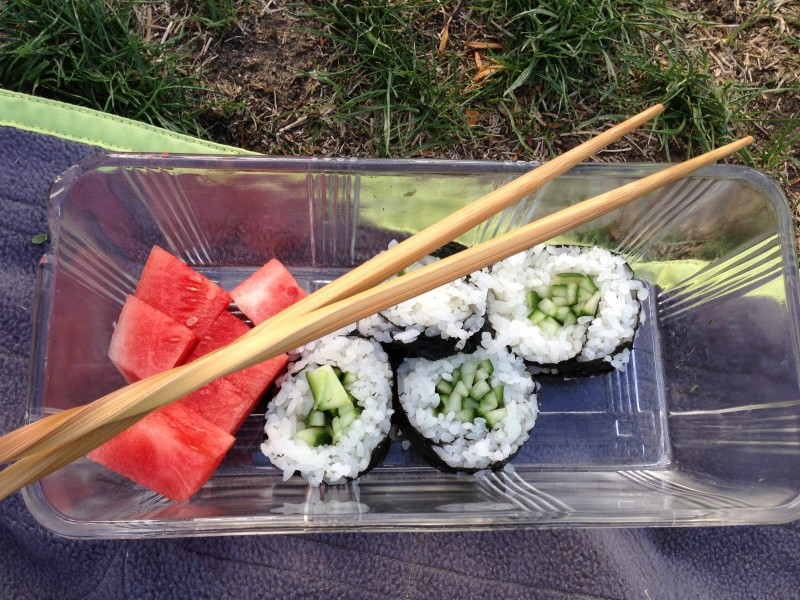 Cucumber Sushi Rolls with Watermelon