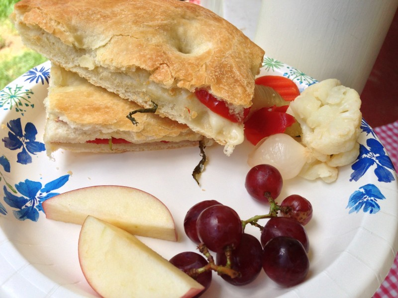 Stuffed focaccia with pickled vegetables and fruit