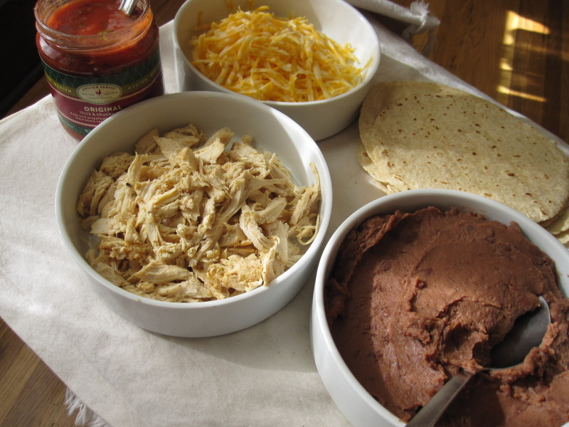 Ingredients for Baked Chicken and Bean Burritos