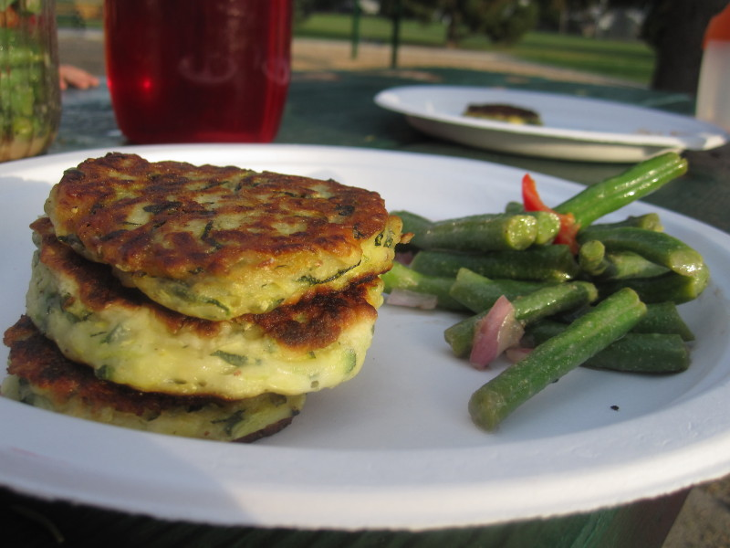 Buttermilk Parmesan Zucchini Fritters with Marinated Green Bean Salad