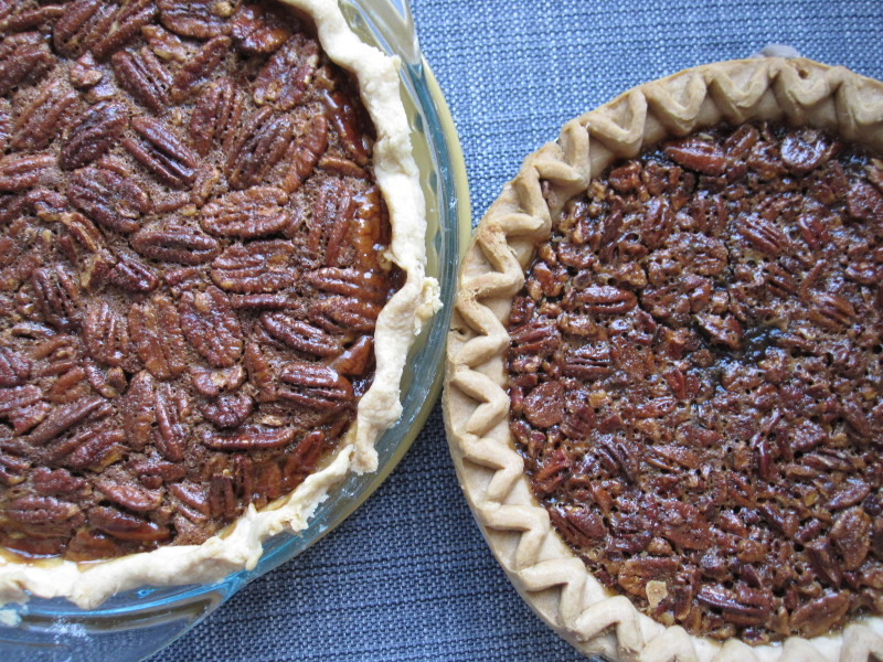 Homemade Pecan Pie on the left, Marie Callender's frozen Southern Pecan Pie on the right