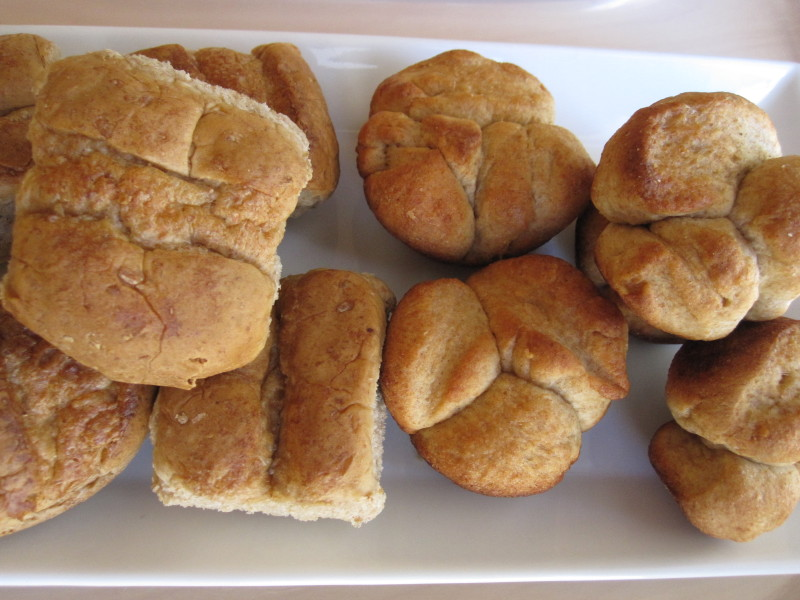 Heat-and-serve rolls on the left, Homemade Honey Wheat Rolls on the right