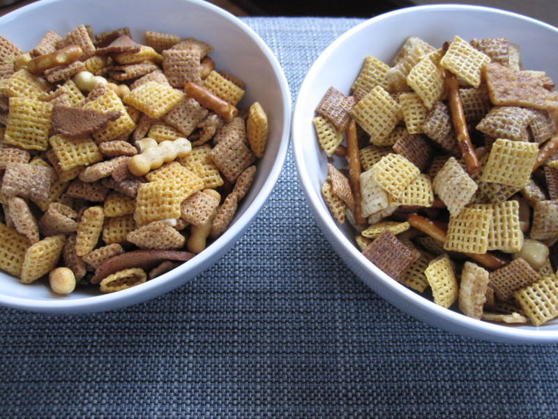 Store bought Chex mix on the left, homemade Spicy Chipotle Chex mix on the right