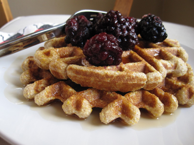 Whole Grain Waffles with blackberries