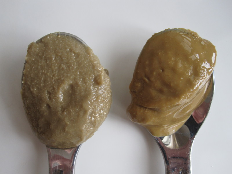Homemade Sunflower seed butter on the left, store bought Sunbutter on the right