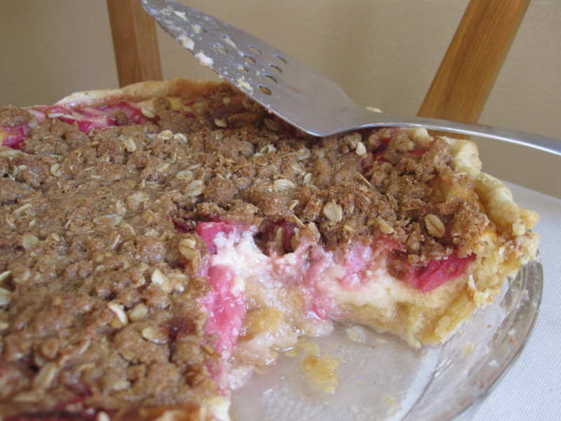 Rhubarb Buttermilk Pie with Oat Crumb Steusel