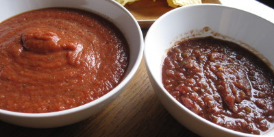 Homemade Chipotle Blender salsa on the left, Archer Farms Chipotle restaurant style salsa on the right