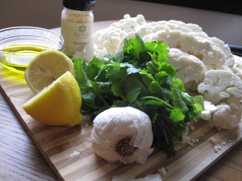 Cauliflower, cilantro, garlic, lemon, oil and vindaloo spice