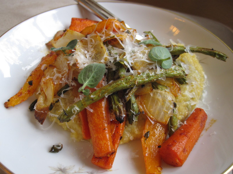 Smoked Paprika Roasted Vegetables with Herbed Parmesan Polenta