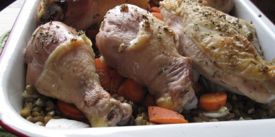 Juniper and Thyme Brined Chicken with Lentils