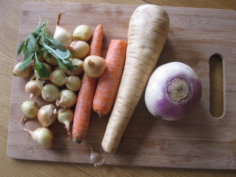 Sage, pearl onions, carrots, parsnip and turnip